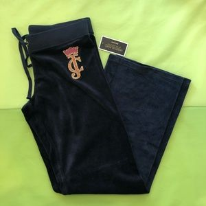 Juicy Couture Navy Velour Track Pant